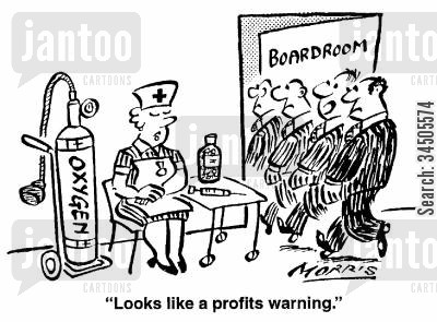 nurses onhand cartoon humor: Looks like a profits warning.