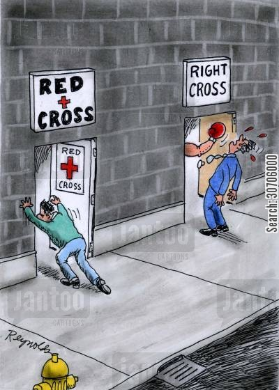 fists cartoon humor: 'Red Cross' and 'Right Cross'.
