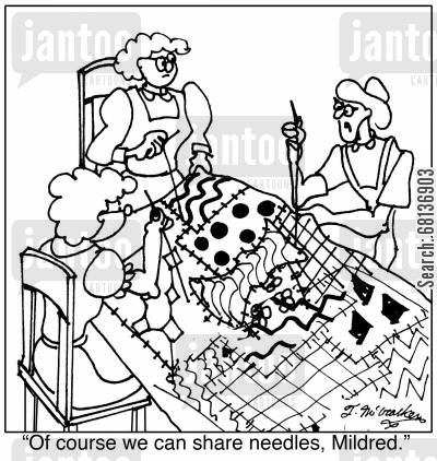 hypodermic needle cartoon humor: 'Of course we can share needles, Mildred.'