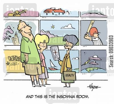 estatea agent cartoon humor: 'And this is the insomnia room.'
