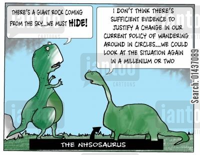 health services cartoon humor: The NHSAUSAURUS: 'There's a giant rock coming from the sky...we must hide.'