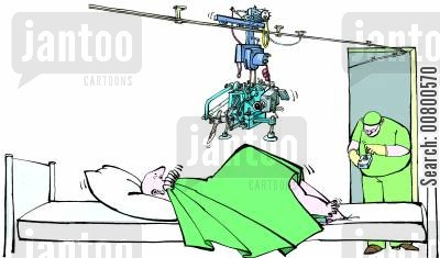 operating theatres cartoon humor: Remote Control Operation.