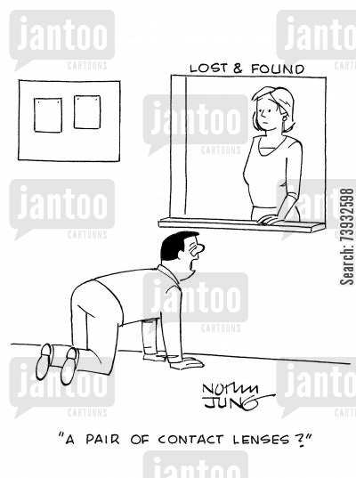 optometrists cartoon humor: 'A pair of contact lenses?'