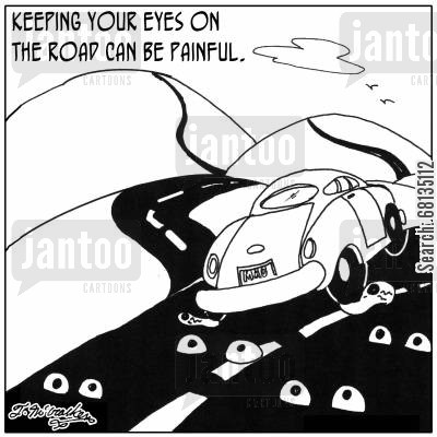 optometrists cartoon humor: Keeping your eyes on the road can be painful.