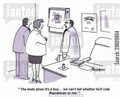 political view cartoon humor: 'The tests show it's a boy.. we can't tell whether he'll vote Republican or not.'