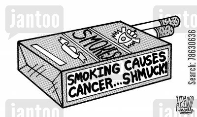 label cartoon humor: Smoking causes cancer... shmuck!