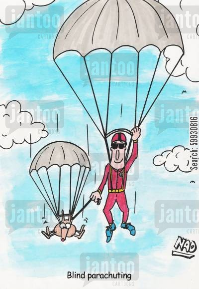 helper dogs cartoon humor: A blind guy is parachuting and his guide dog has his own little chute.