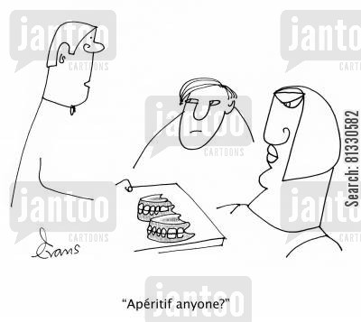 false teeth cartoon humor: 'Ap?ritif anyone?'