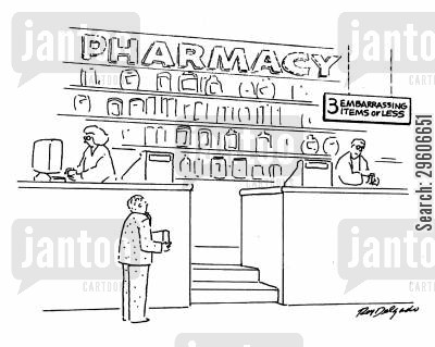 intimidating cartoon humor: Pharmacy - 3 embarrassing items or less.