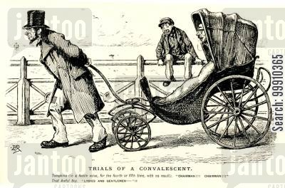 trial cartoon humor: Convalescent being pulled in chair
