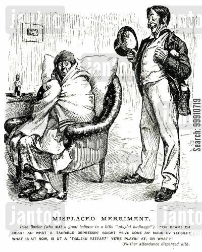 tableau vivant cartoon humor: Docter joking inappropriately with a patient