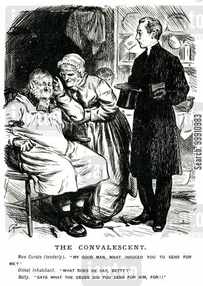 bad health cartoon humor: Sick old man talking to the curate