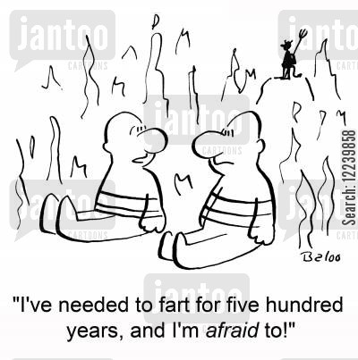 purgatory cartoon humor: 'I've needed to fart for five hundred years, and I'm afraid to!'