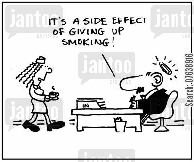 sainthood cartoon humor: 'It's a side effect of giving up smoking.'