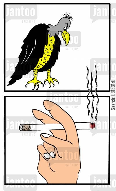 lung cancer cartoon humor: Vultures Over Smoking.