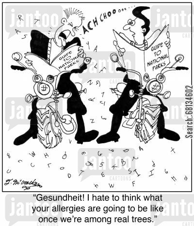 sneezers cartoon humor: 'Gesundheit! I hate to think what your allergies are going to be like once we're among real trees.'