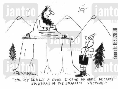 pilgrimage cartoon humor: 'I'm not really a guru. I came up here because I'm afraid of the smallpox vaccine.'