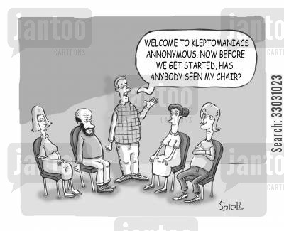 kleptomaniac cartoon humor: Kleptomaniacs Anonymous.