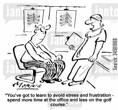 relaxation cartoon humor: ...spend more time at the office and less on the golf course.