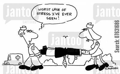 paramedics cartoon humor: Worst case of stress I've ever seen!