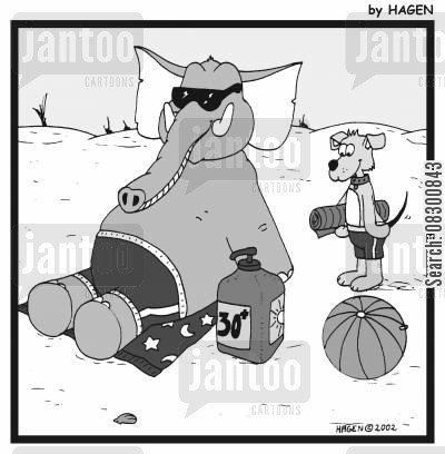 sun lotions cartoon humor: Elephant with a large tub of sunscreen.