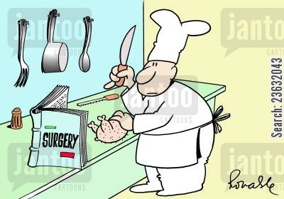 culinary cartoon humor: Culinary surgery.