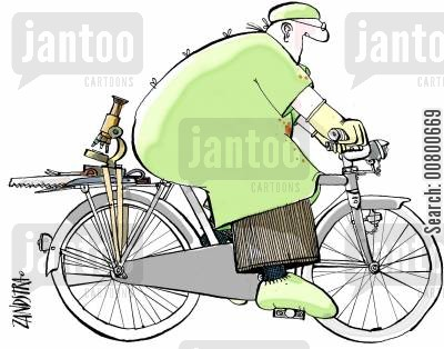 bike riding cartoon humor: Surgeon on bike.