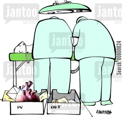 transplant cartoon humor: Surgeons with in-tray and out-tray.
