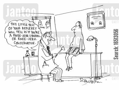 check up cartoon humor: This Little Test Of Your Reflexes Will Tell Us If You're A Knee Jerk Liberal Or a Knee Jerk Conservative.