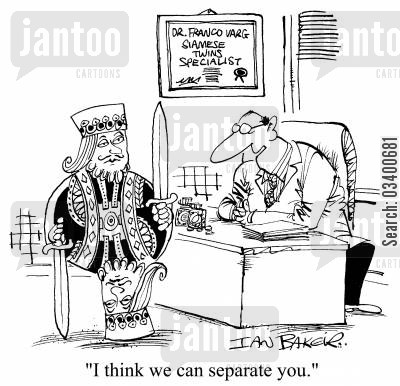 playing card cartoon humor: I think we can separate you.