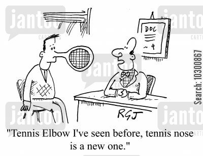 rackets cartoon humor: Tennis elbow I've seen, tennis nose is a new one