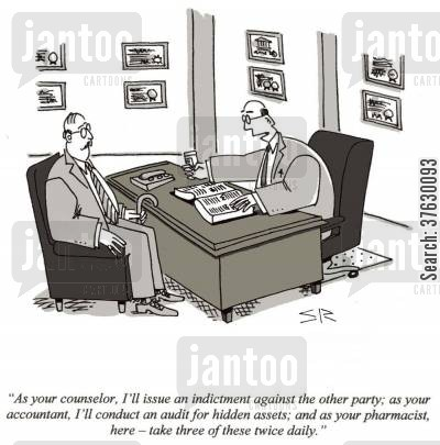 multi-tasking cartoon humor: 'As your counselor, I'll issue and indictment against the other party, as your accountant,,,'