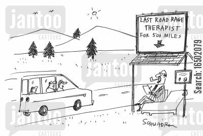 selling points cartoon humor: Last Road Rage Therapist for 500 Miles