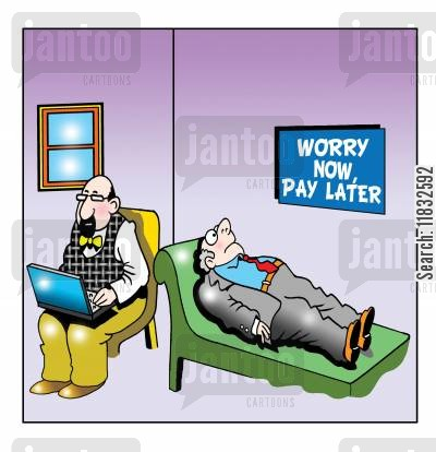 buy now pay later cartoon humor: Worry now pay later...