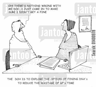 adverse cartoon humor: The DOH is to explore the option of fining DNA's to reduce the wastage of GP's time