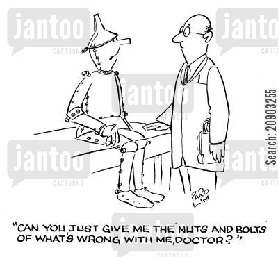 the tin man cartoon humor: 'Can you just give me the nuts and bolts of what's wrong with me, doctor?'