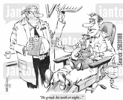 dental surgery cartoon humor: 'He grinds his teeth at night...'