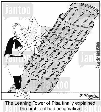 eyes cartoon humor: The Leaning Tower of Pisa finally explained: The architect had astigmatism.
