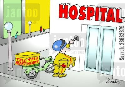 organ transplant cartoon humor: Tele-Heart Delivery to the Hospital.