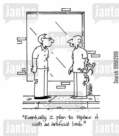 tree root cartoon humor: 'Eventually I plan to replace it with an artificial limb.'