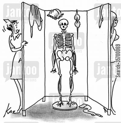 screens cartoon humor: Playing a trick on a nurse, leaving a skeleton behind a changing screen.