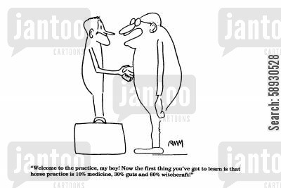 guts cartoon humor: 'Welcome to the practice, my boy!'