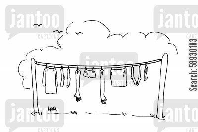 laundry days cartoon humor: Clothesline.