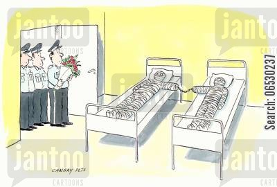 guarding cartoon humor: Prison officers' hospital visit.
