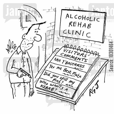 rehab clinic cartoon humor: Alcoholic Rehab Clinic's Visitors Book