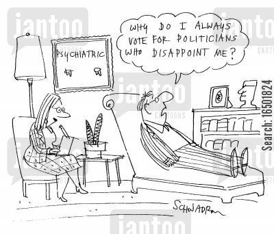 disillusionment cartoon humor: Why do I always vote for politicians who disappoint me?