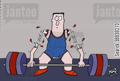 sporting injury cartoon humor: The clean and 'jerk' - weights too heavy.