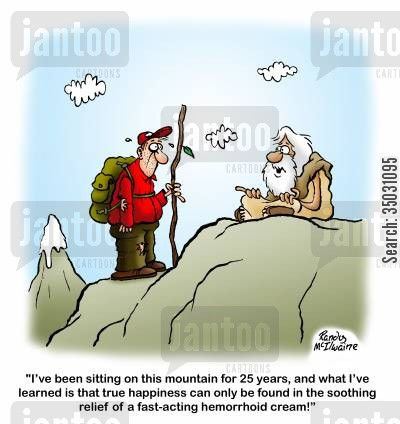 meditate cartoon humor: 'I've been sitting on this mountain for 25 years, and what I've learned is that true happiness can only be found in the soothing relief of a fast-acting hemorrhoid cream!'