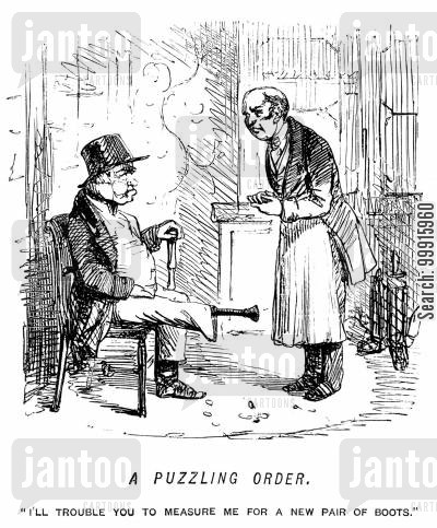 boot cartoon humor: Man with a wooden leg asking to be measured for a pair of boots