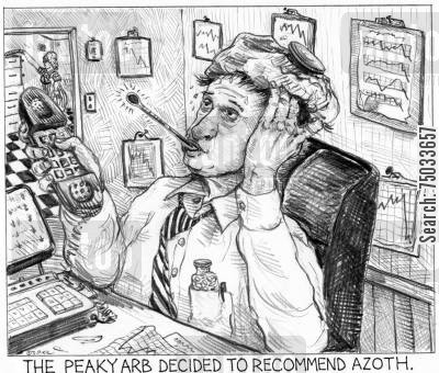 linguist cartoon humor: 'The peaky arb decided to recommend azoth.'